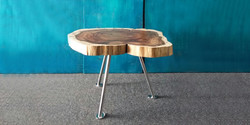 chop table, 550 dia x 450 h, brushed stinaless steel with blackwood top