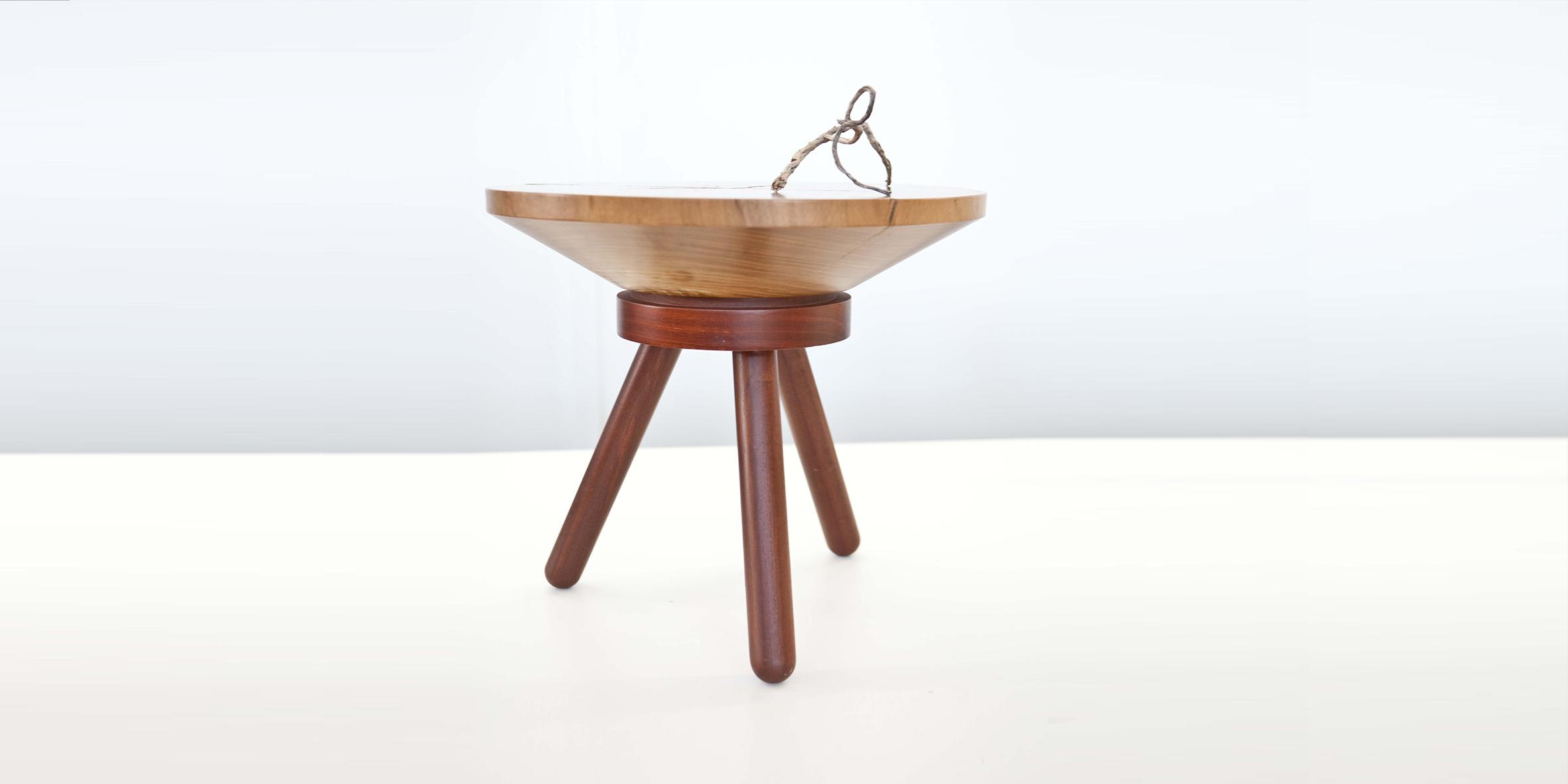 bongo side table 500 dia x 450 h, sugar gum top with jarrah base