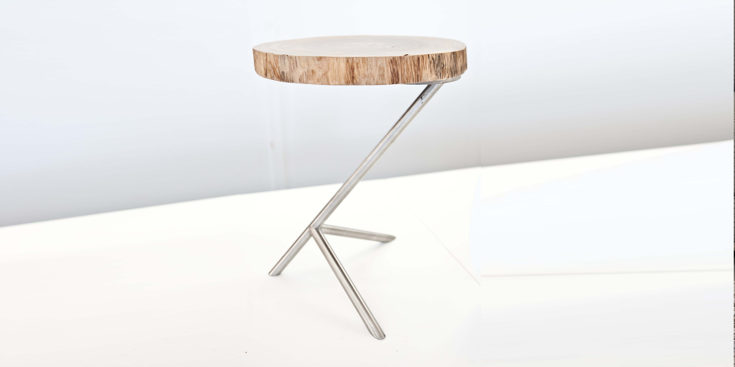 chicken leg table,brushed stainless steel base with wany edged gum top, 350 dia x 380