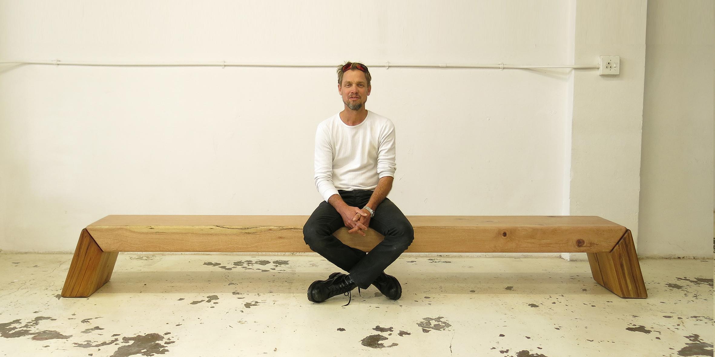 makere bench, 3000 l x 320 w x 430 h, silky oak beam with blackwood legs