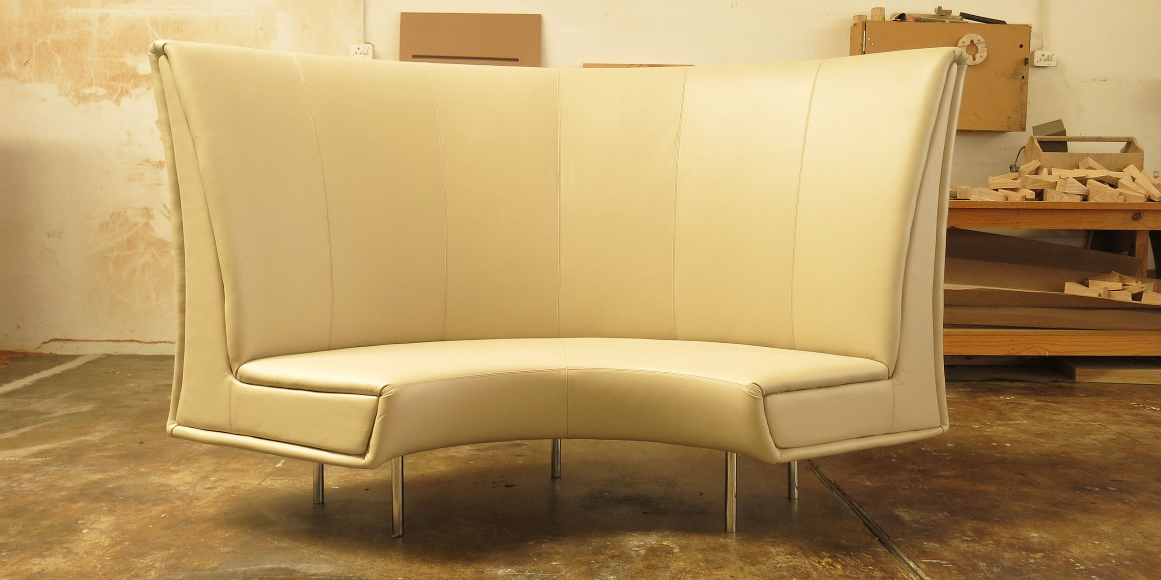 lilly sofa, 1400 l x 630 w x 1300 h, natural leather upholstery