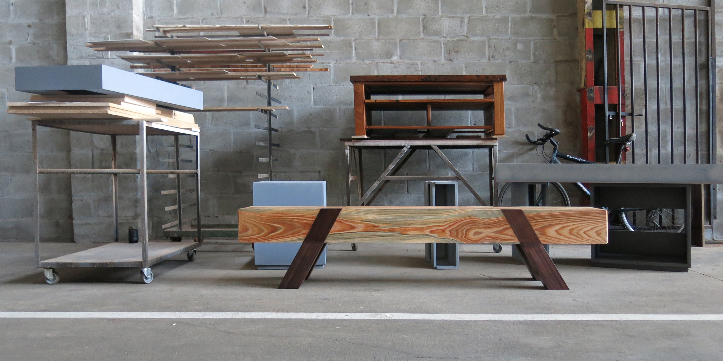 vaulting bench, 3000 l x 320 w x 420 h, stone pine with jarrah legs