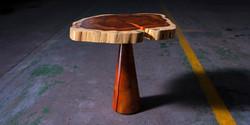 fbs - holz mushroom, 50mm thick blackwood top with turned blackwood base, 600 h x 500 dia REV 1