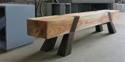 vaulting bench, 3000 l x 320 w x 420 h, stone pine with jarrah legs