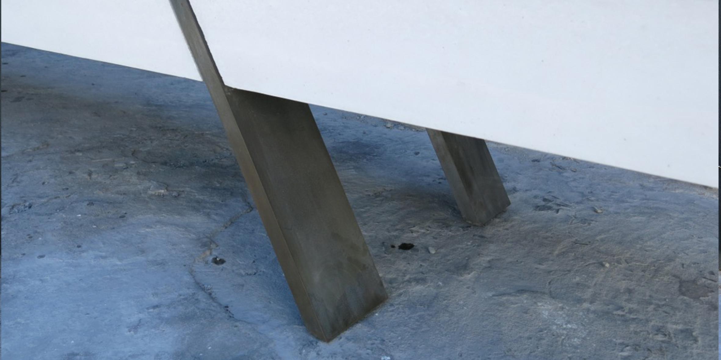 concrete kewitz bench, 3600 l x 500 w x 400 h, solid concrete beam with mild steel legs