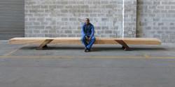 timber kewitz bench, 6000 l x 500 w x 400 h, solid gum beam with jarrah legs