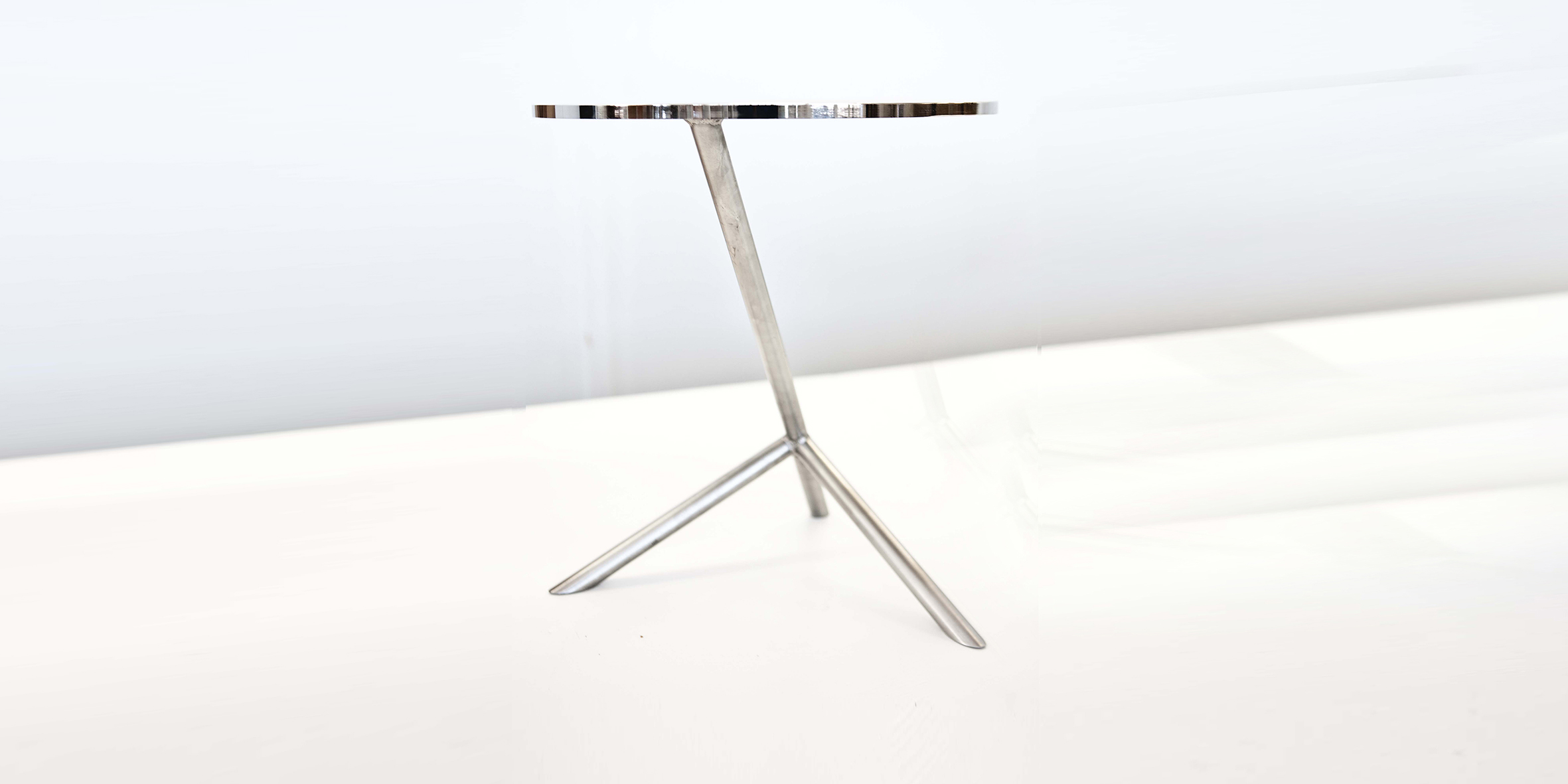 cognac side table, polished stainless steel, 350 dia x 380