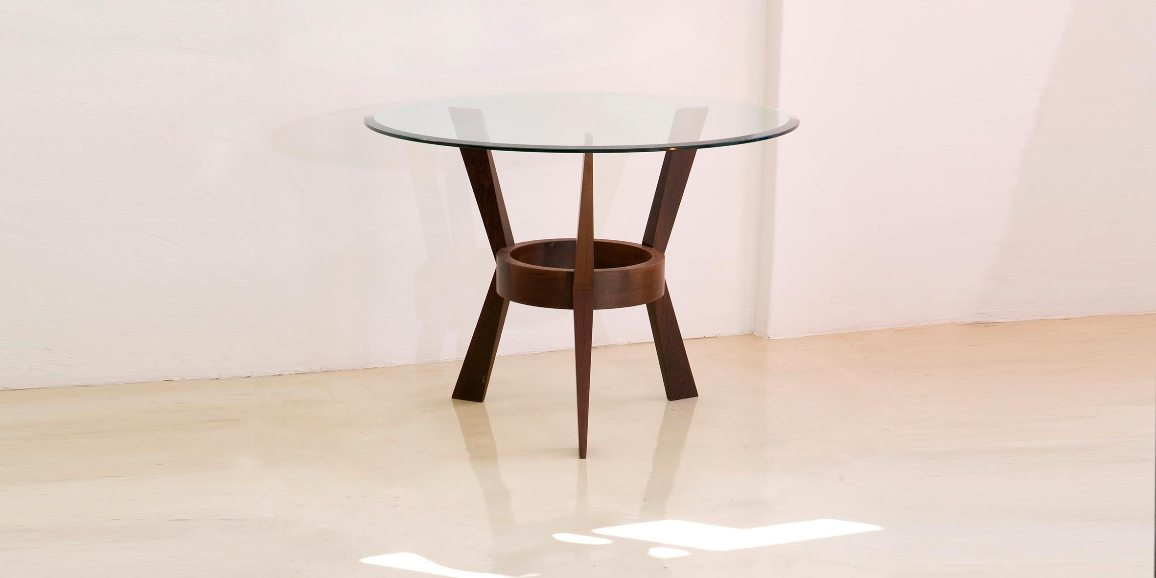 crane leg table, 730 h x 1100 dia, wenge