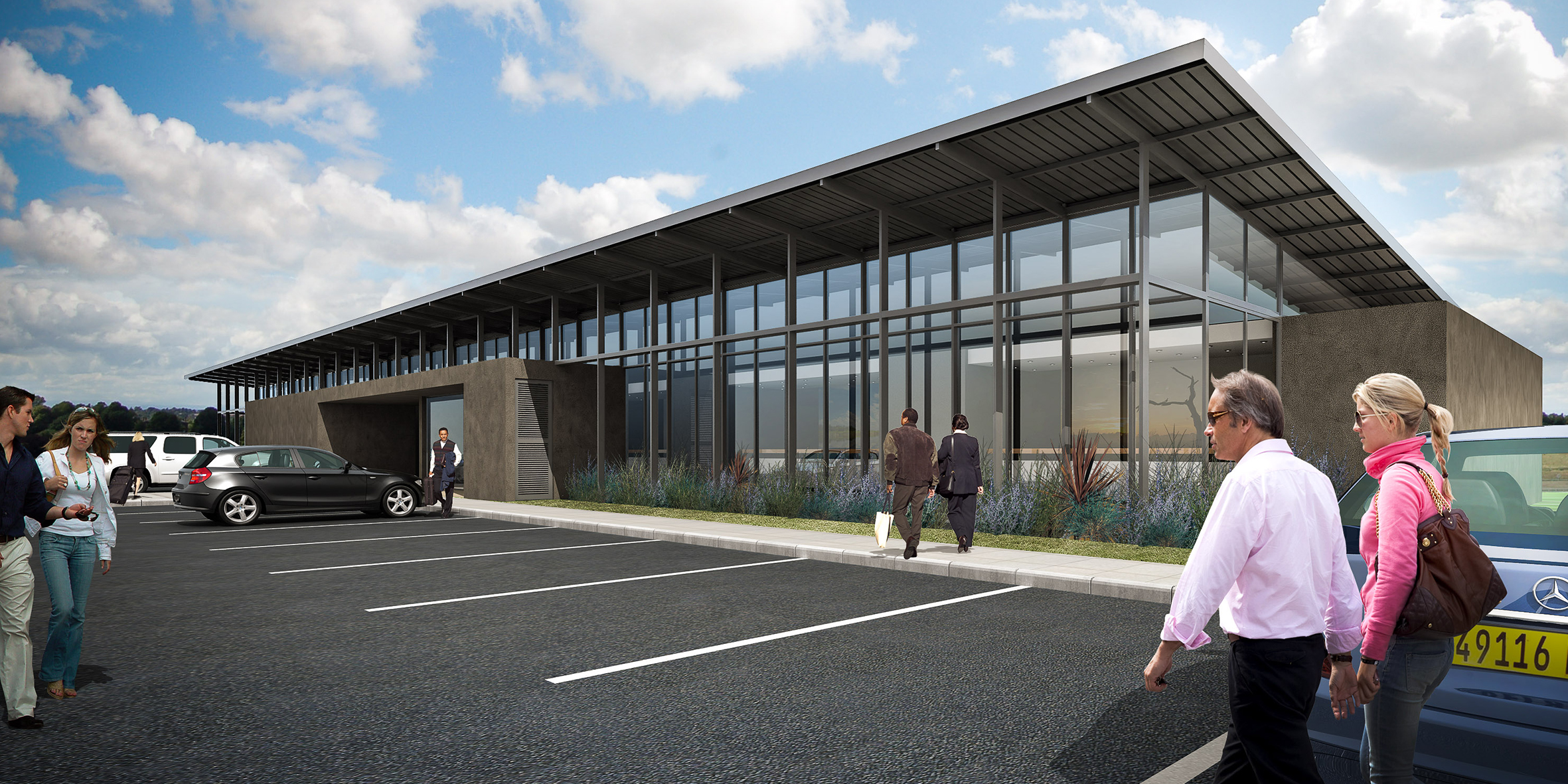 airport car rental, exterior facade