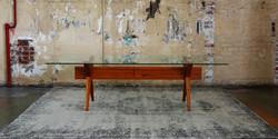 star table, 2500 l x 1100 w x 730 h, wormy chesnut