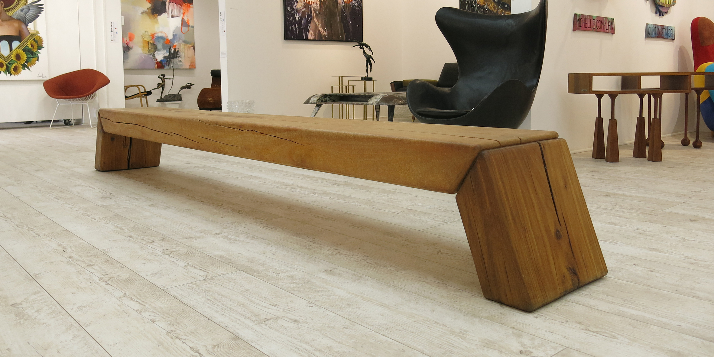 makere bench, 3000 l x 320 w x 430 h, silky oak beam with blackwood legs eclectica