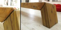 makere bench, 3000 l x 320 w x 430 h, silky oak beam with blackwood legs detail