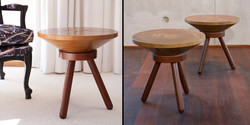 bongo side table 500 dia x 450 h, sugar gum top with jarrah base