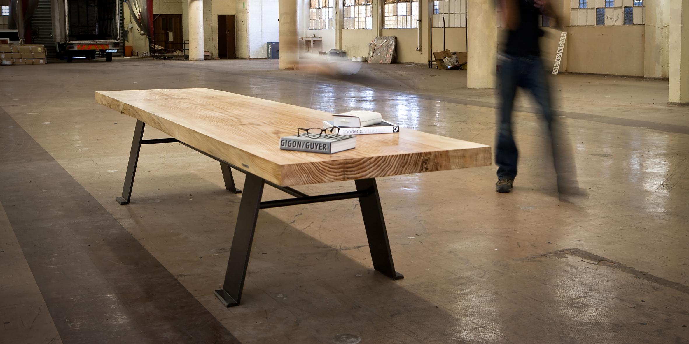 slab table, 2700 l x 1100 w x 730 h, pinasta pine top with mild steel base