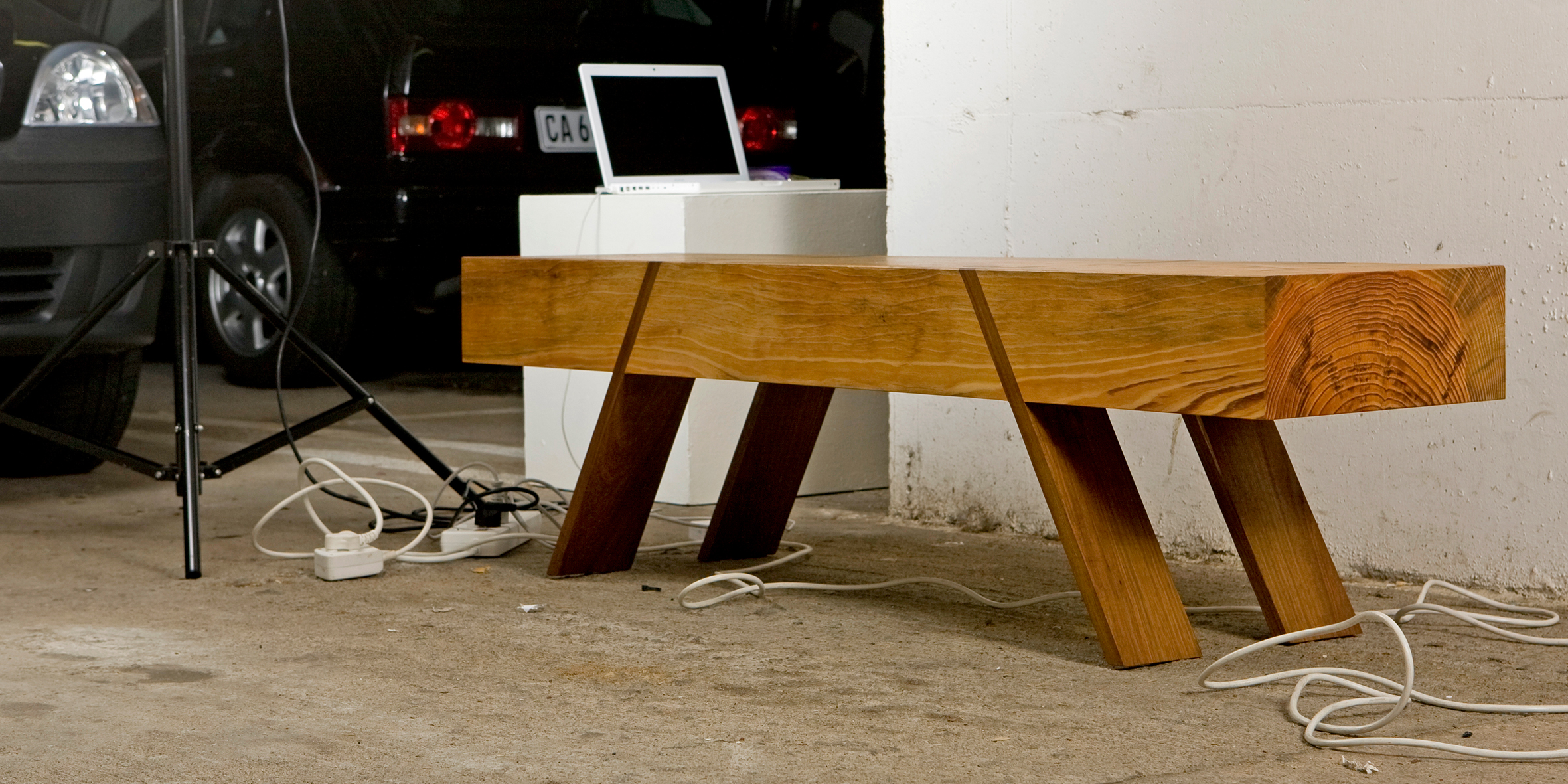 dave bench, 3000 l x 380 w x 400 h, stone pine beam with jarrah feet