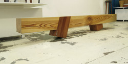 fat chic bench, 3000 l x 280 w x 400 h, stone pine with rose gum legs