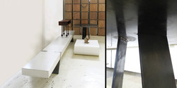steel disc table, 730 h x 1100 dia, mild steel