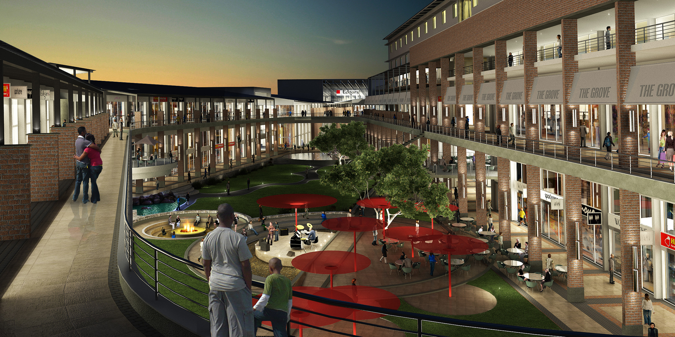 fbs - the grove, slideshow exterior coutyard dusk