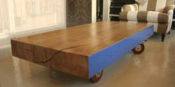 man who fell over the blue table, 1600 l x 750 w x 300 h, gum on jarrah casters