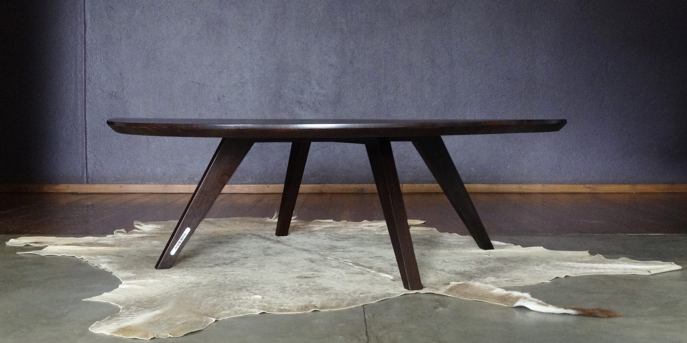 rylt coffee table, 1200 dia x 380 h, reclaimed wenge
