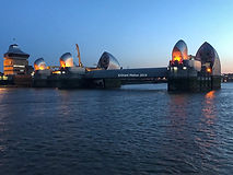 Thames barrier london UK at night