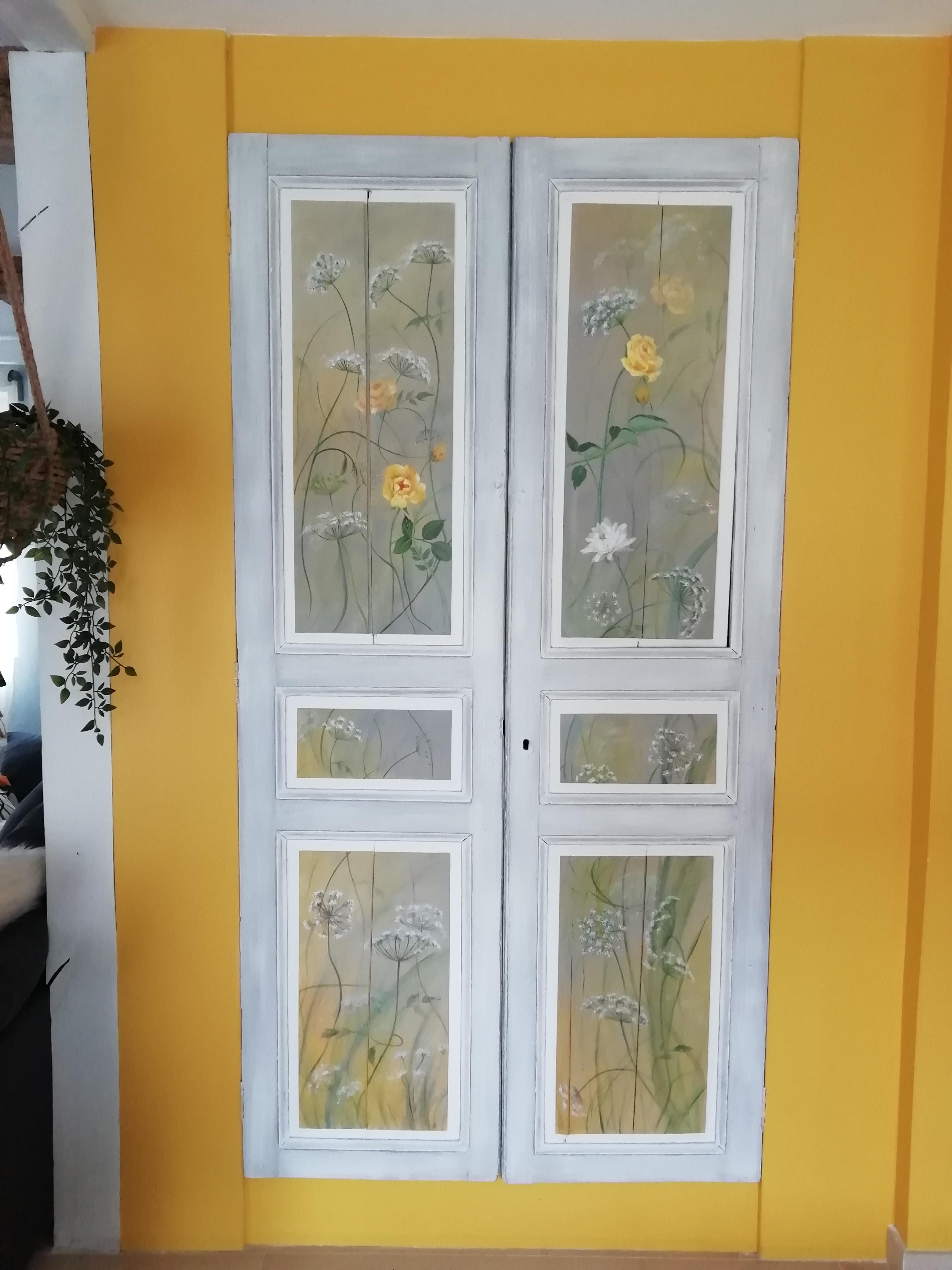 Décor champêtre sur portes de placard
