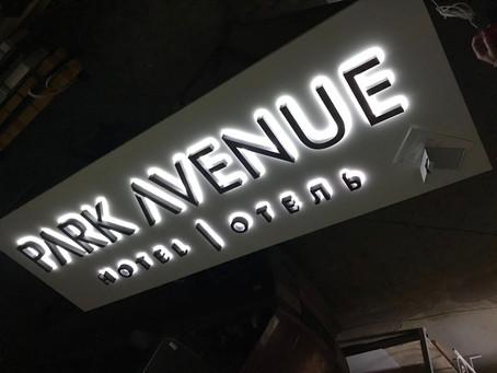 Буквы световые на подложке из композитной панели.