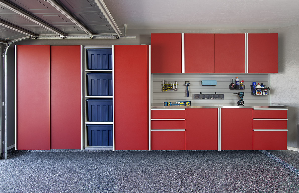 Red Sliding Cabinet w Workbench