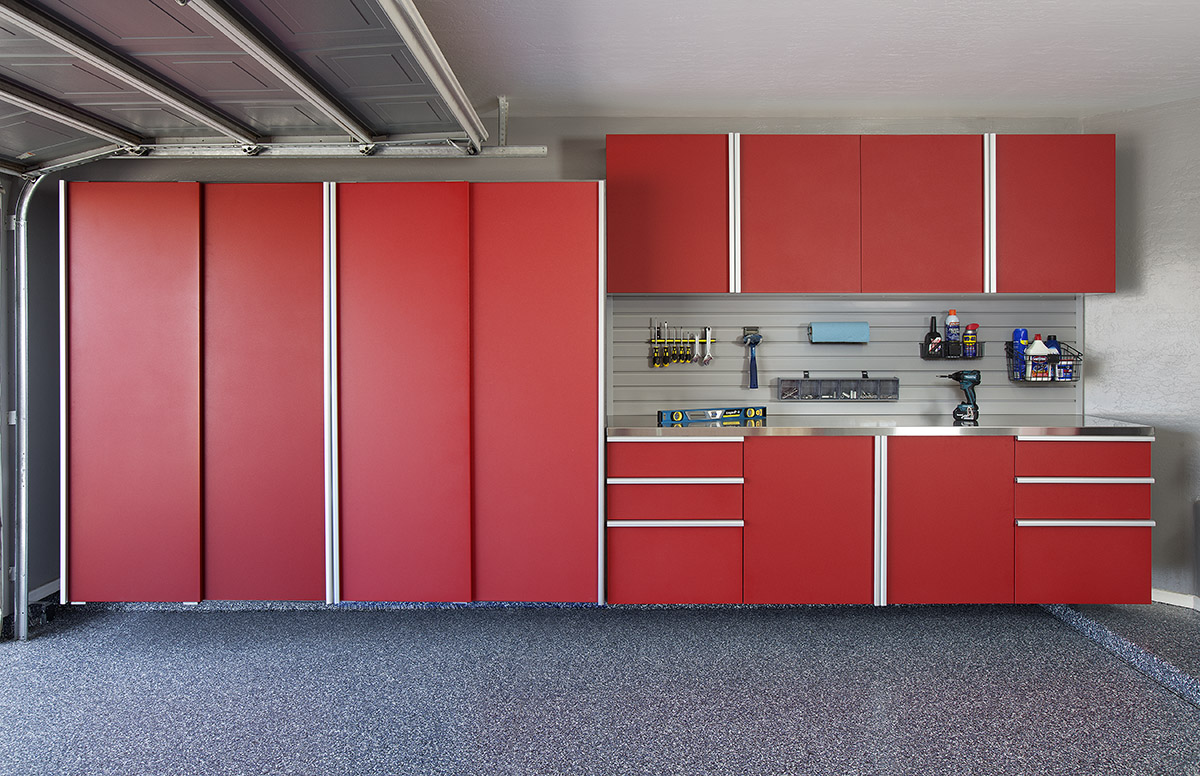 Red Cabinets Garage Organization