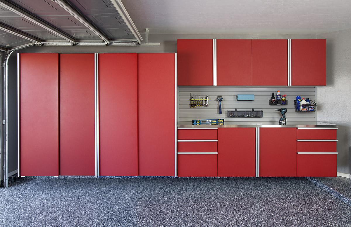Red Cabinets Garage Organization