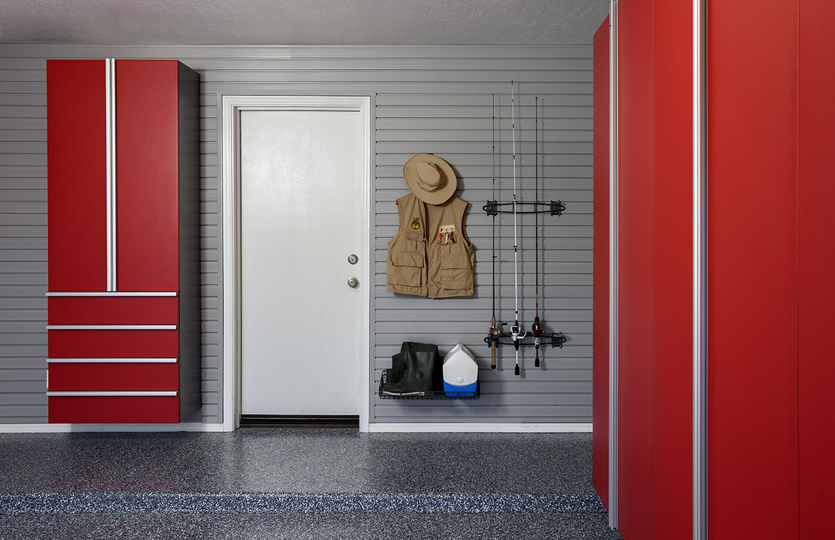 Red Cabinets w Fishing Rods