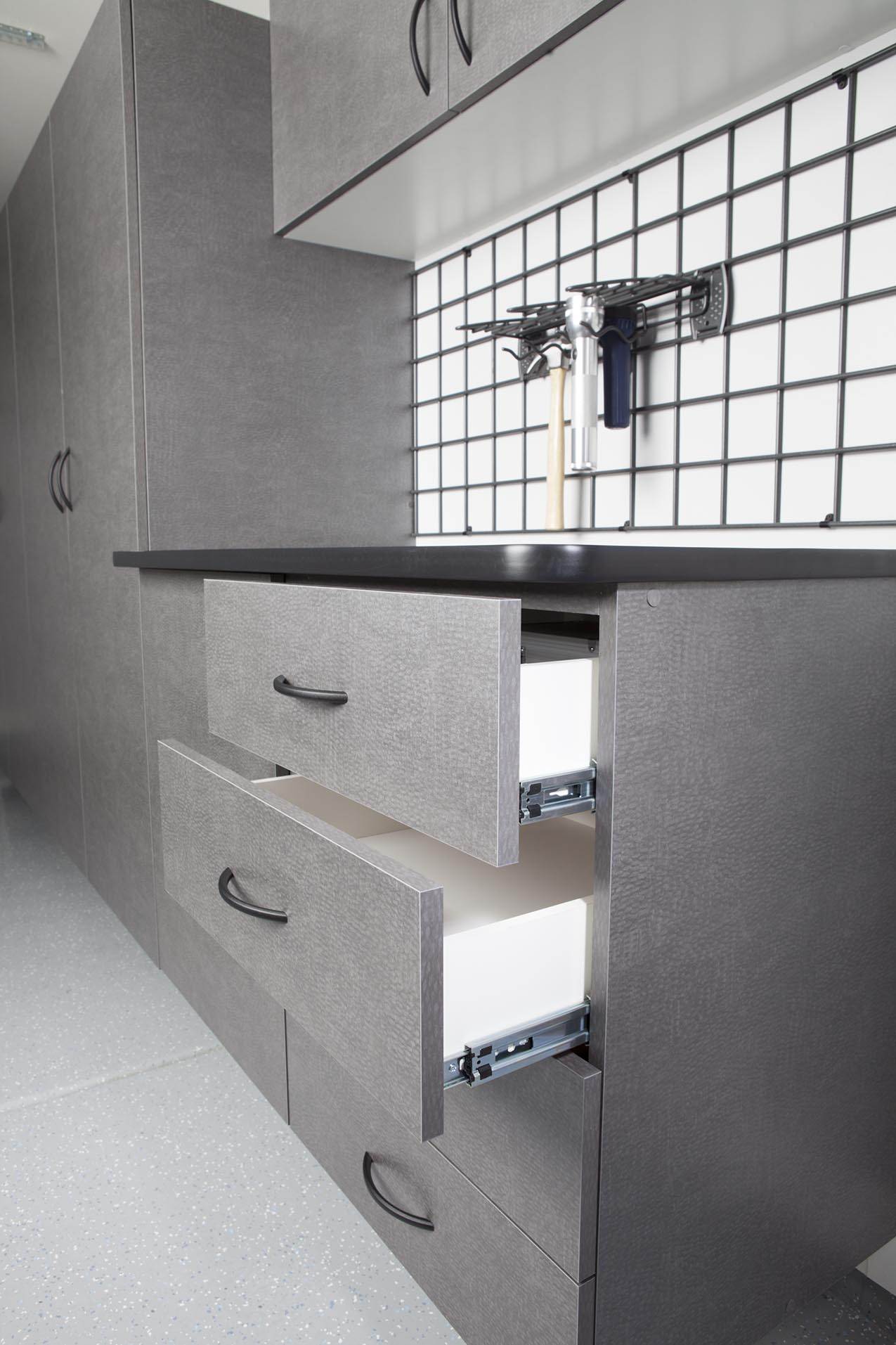 Pewter Workbench with Open Drawers