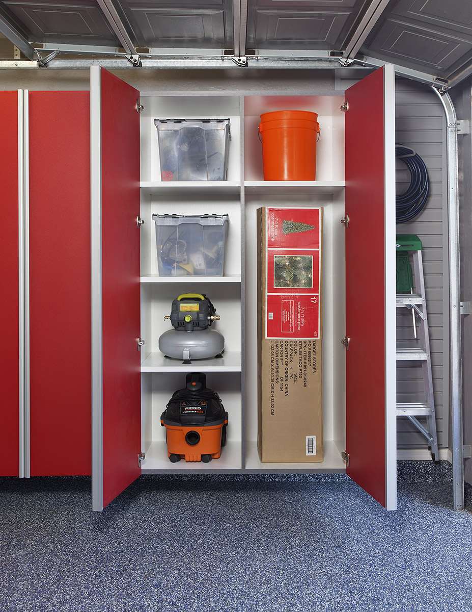 Red Garage Orgization Cabinets