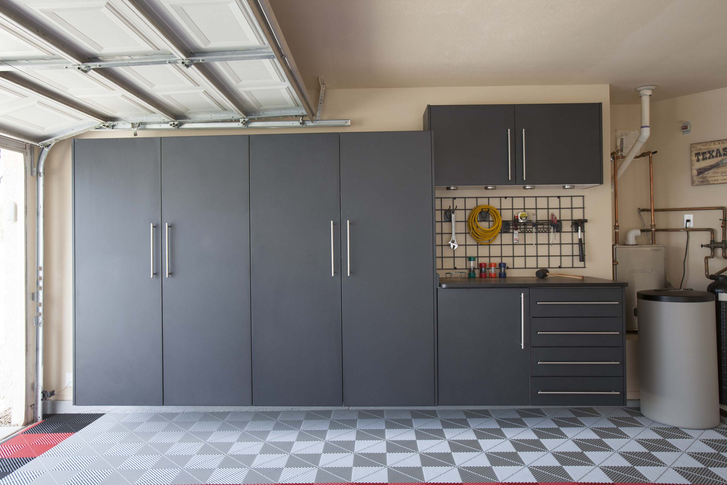 Granite Tall Cabinets with Workbench