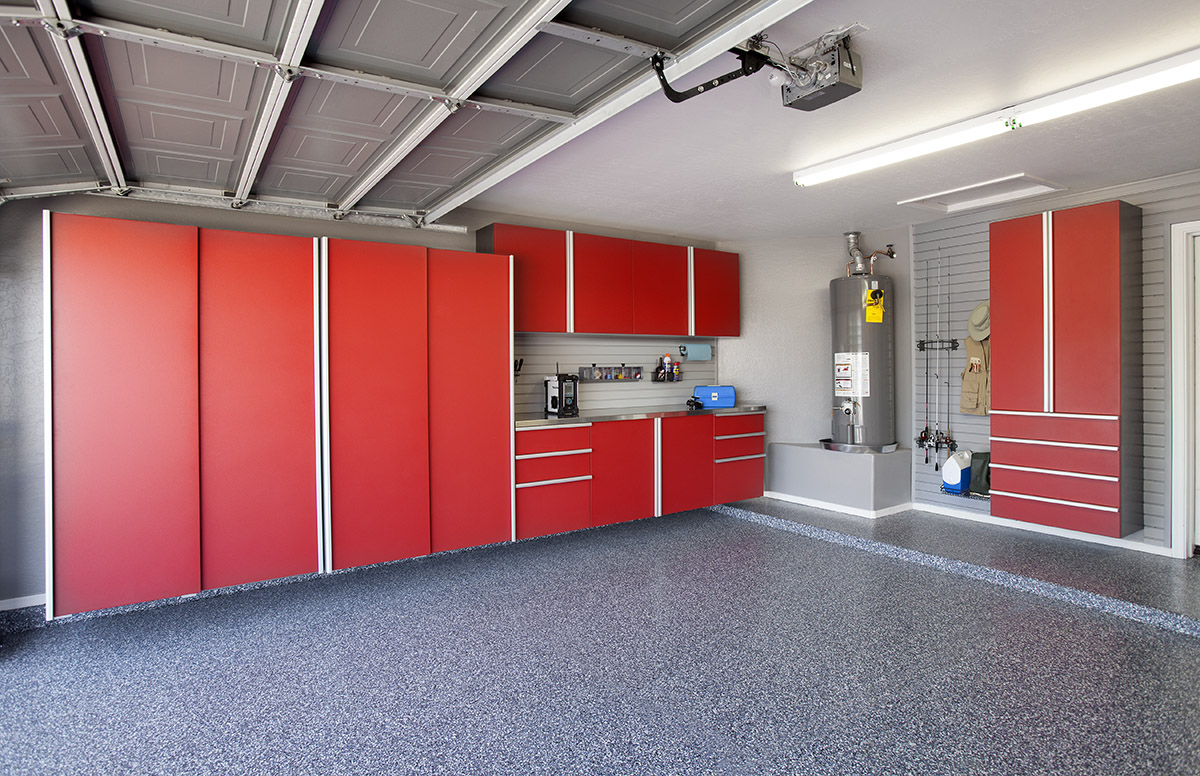 Red Cabinets w Stainless Workbench