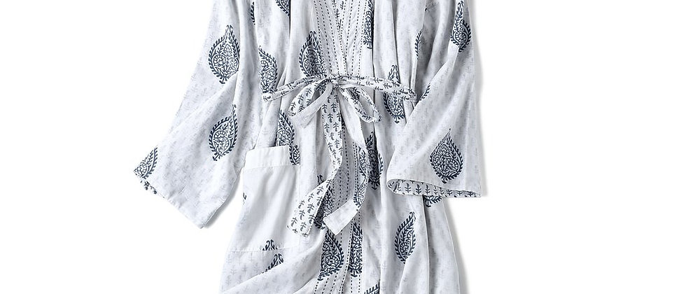 Block Printed Reversible Cotton Robes - Adults