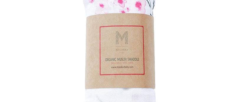 Organic Muslin Swaddle - Cherry Blossom