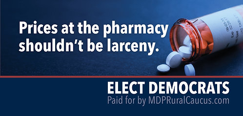 250 Postcards - Prices at the pharmacy shouldn't be larceny.