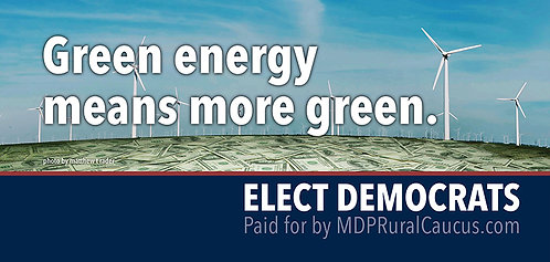 250 Postcards - Green energy means more green.