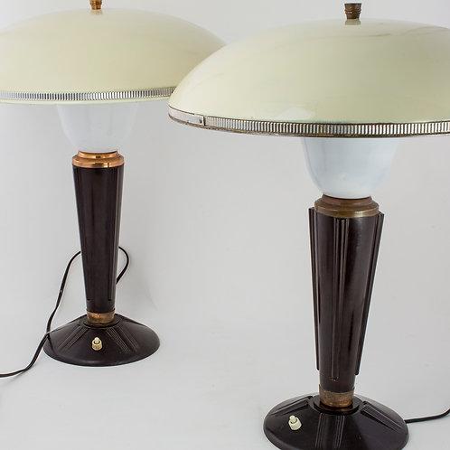 Pair of FRENCH MODERNIST MID CENTURY DESK LAMP JUMO BAKELITE ADNET