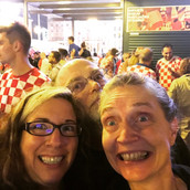 Celebrating our gig in Zagreb (and possibly the World Cup Semi-final).