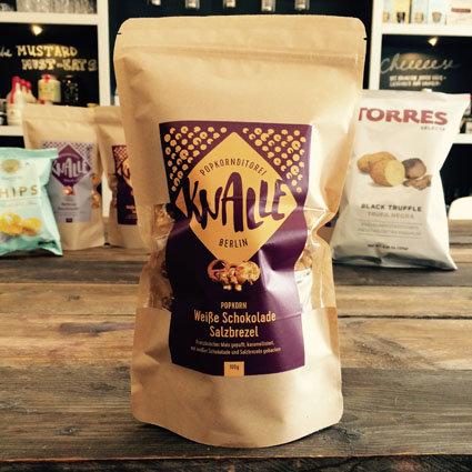 > Popcorn - Weiße Schokolade mit Salzbrezeln