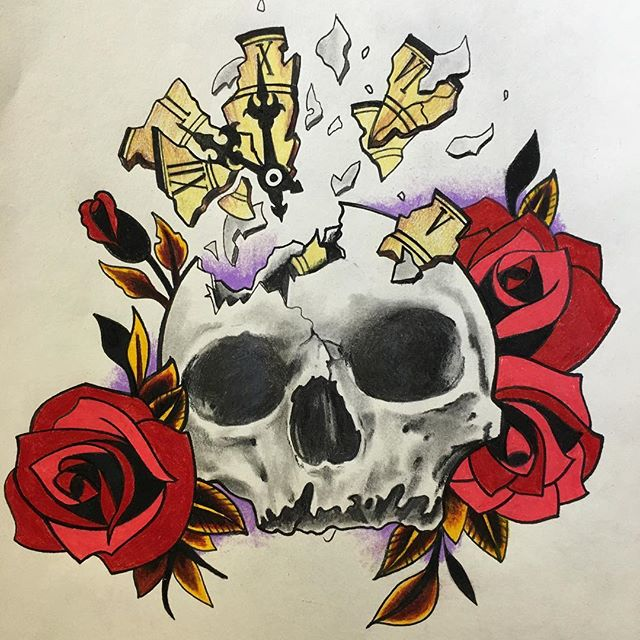 Skull and roses drawing#drawing #skullandroses #tattoo #timewaitsfornoone #tattooing