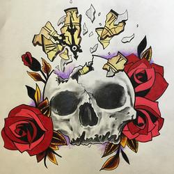 Skull and roses drawing#drawing #skullandroses #tattoo #timewaitsfornoone #tattooing