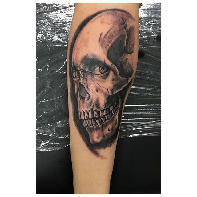 Wip #tattoo#tattoos #blackandgreytattoo #evildead2 #skull