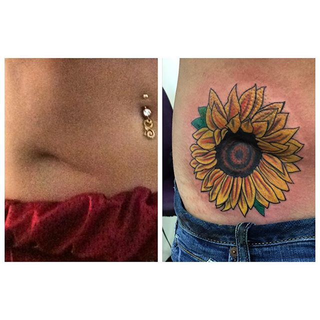 Today's work #tattoo #scarcoverup #sunflower #sunflowertattoo #27thsttattoo