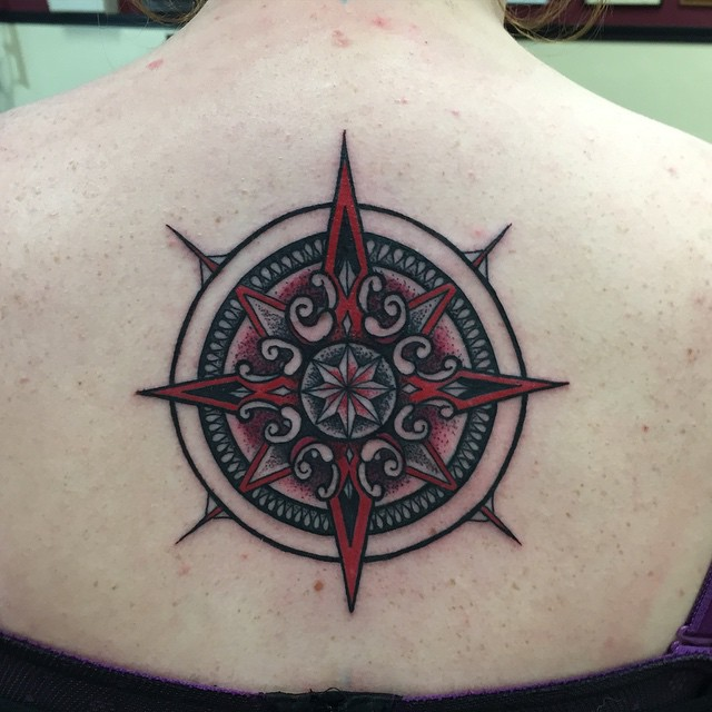 Instagram - Today's work #tattoos #tattoo #compassrose #backtattoo #blackckawnee