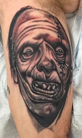 Today's work #tattoo #blackandgreytattoo #leatherface #27thsttattoo_edited