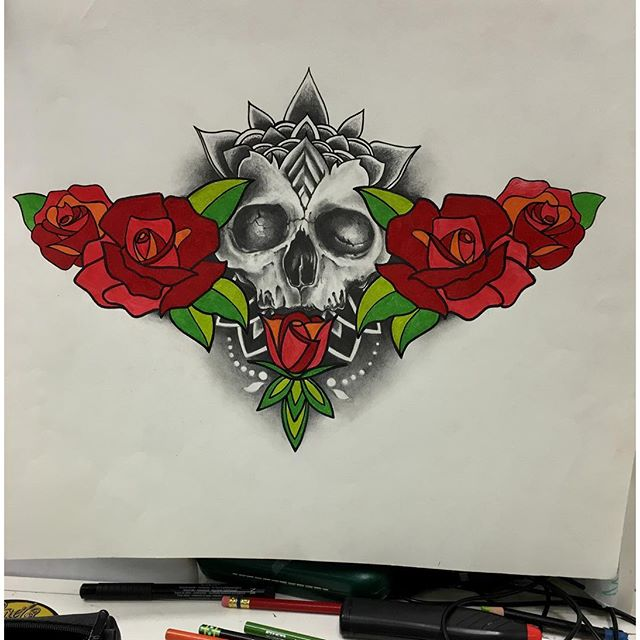 Pencil work#skulls #skull #rose #illustration #tattoos #tattoo #27thsttattoo