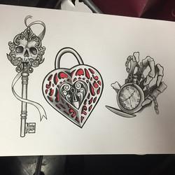 Instagram - #art #flash #illustration #skeletonkey#pocketwatch